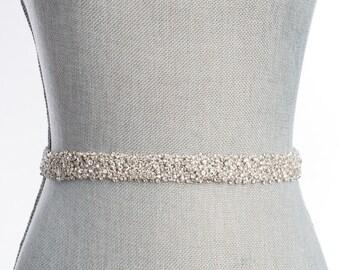 rhinestone wedding Sash, beaded bridal belt, bridal sash with clasp, snowfall belt, crystal wedding belt - cannes Sb160112
