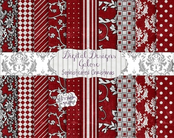 Sophisticated Christmas Digital Paper Pack Set of 12 - Holiday, Christmas, Red, Black, Gray 12 x 12 Digital Papers - Digital Designs Galore