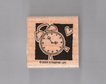 Clock Heart Time Stampin Up Small Wooden Stamp
