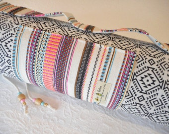 Yoga mat bag - Mexican textiles - Oatmeal / Onyx -  INCA PATTERN - Mex rainbow stripe trim fabric - includes pocket & beaded draw string.
