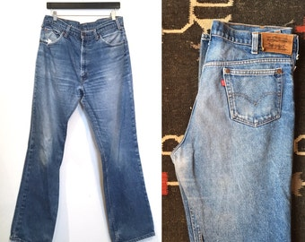 36 waist | Vintage Worn In & Faded Levis 515 Saddle Bootcut Denim