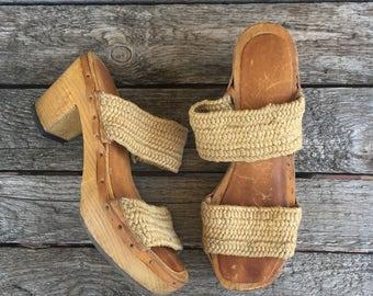6 | Women's Vintage 1970's Platform Heeled Wood Sandals with Hemp Straps
