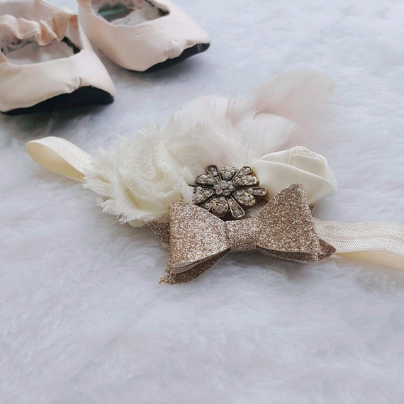Cream Feather Baby Headband- Coutour Vintage Headband- Girl Headband- only one MADE