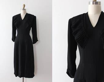 vintage 1940s Samuel Kass dress // 40s FOGA black rayon crepe dress