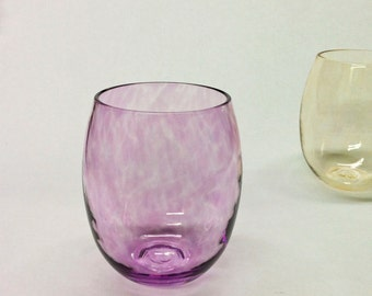 Stemless Wine Glass in Pale Purple / Home Decor / Holiday Entertaining / Beach Sea Glass Colors