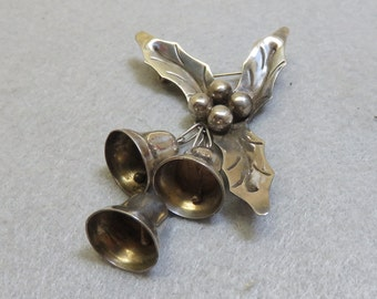 Sterling Holly and Bells Christmas Brooch, Vintage, Lovely
