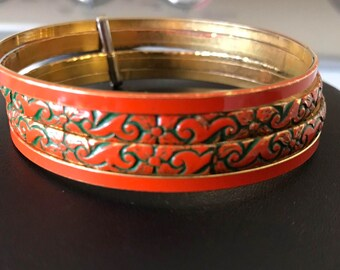 Wrist Candy Four Joined Orange and Green Enamed Bangles