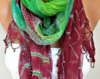 ON SALE --- Batik Silk Scarf,Evening Wrap,Wedding Scarf,Christmas,Bohemian Shawl,Cowl Bridal Accessories Bridesmaid Gift Ideas For Her Women