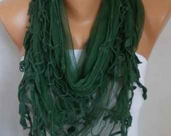 30% OFF - Green Tulle Scarf, Summer Fashion Scarf,Birthday Gift,Cowl Scarf Gift For Her  Mom,Women Fashion Accessories