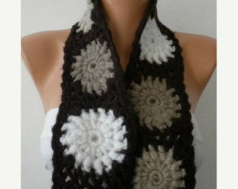 ON SALE --- 20% OFF - Crochet Scarf - Women Cowl - Knit Scarf - Granny Square -  Brown Chocolate