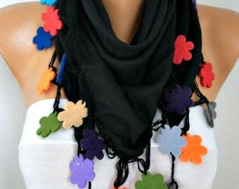 ON SALE --- Black Pashmina Scarf,Fall Winter Scarf,Wedding Scarf, Bohemian,Cowl Scarf Felt Flower Gift Ideas Women's Fashıon Accessories   -