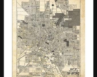 1924 San Antonio Street Map Vintage Print Poster Grunge