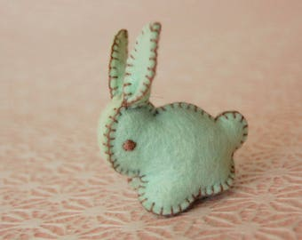 Pastel GREEN Felted BUNNY Rabbit Toy -- Handmade pure wool felt -- Easter Baby Shower
