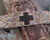 Multi color mosaic wide beaded cross leather bracelet - Big Top/ MATTE BLACK - colorful fringe tassel friendship bracelet boho by slashKnots