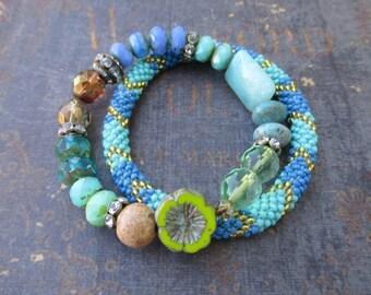 Stretch bracelet SET of TWO  - Amazon -  bold colorful blue beachy stone glass beach boho by slashKnots