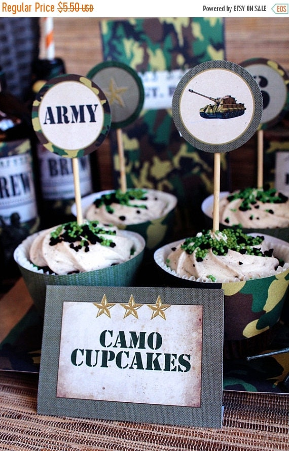 ON SALE Army Men Party Circles/Cupcake Toppers - INSTANT Download - Editable & Printable Birthday Decorations by Sassaby Parties