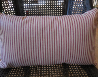 French Red Ticking Lumbar Pillow, 13 x 21 inches,  Farmhouse Pillows, Shabby Chic, INSERT INCLUDED