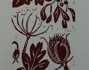 Leaves and Seeds Original Print, Linoprint Autumn Fall Leaves, Red, Brown and Green Print