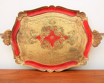 Vintage Italian Florentine style decor tray.  Cocktail party bar ware.