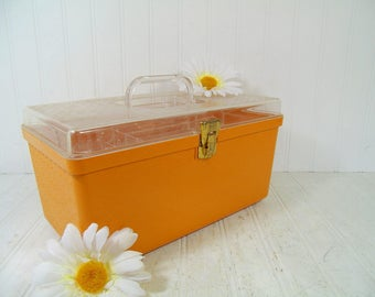 Wilhold Wilson Sewing Box Retro Clear & Autumn Gold - Vintage Plastic Carry All - Crafters Supply Tote Artisans Tool Chest Makeup Carry Case