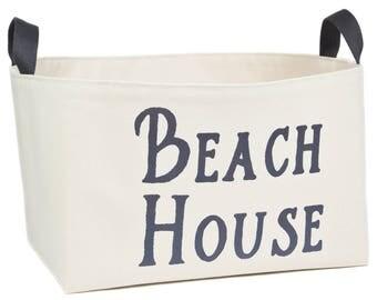 Beach House Canvas Storage Bin, Graphite Gray