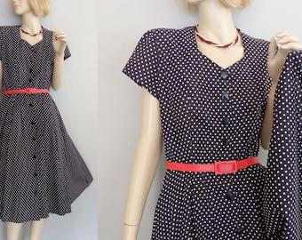 vintage 80's Pretty Women Polka Dot Short sleeves Full circle skirt Day Dress S/M