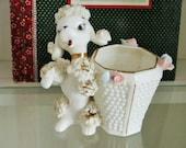 Vintage Spaghetti Poodle Dog White Milk Glass Vase Gold Trim Pink Roses