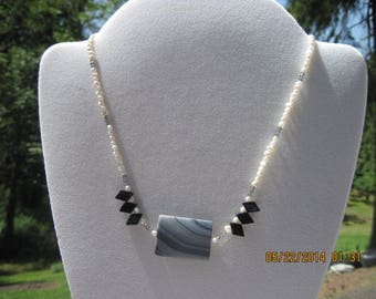 OOAK Semi Precious Rice White Pearls w/ Black Onyx, Grey Malacalite & Smokey Grey Swarovski Necklace...550h
