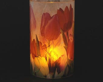 Tulips electric candle holder.  1 small size with 1 free Electric Tea Light.  Bathroom lighting decoration. LED battery tea light.