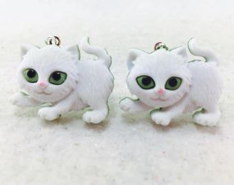 Cat Kitten Cat Earrings, Kitty Earrings, Cat Lover Earrings, Animal Earrings, Cat Dangle Earrings, Kitty Cat Earrings, White Kitten Cats