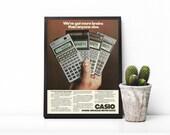 Geeky Wall Art • 80s Tech Advertisement • Casio Scientific Calculators • Programmable Technology Ad • Math Wall Decor • Math Teacher Gift