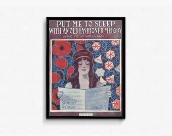 1910s Antique Sheet Music Put Me To Sleep With An Old Fashioned Melody Antique Flower Design High Class Baby Decor 1910s Baby Room Music Art