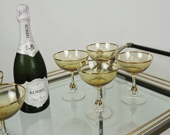 Atlas ball stems Czechoslovakia / Elegant vintage champagne glasses  / Amber Atlas stemware set 8 / Hollywood glam