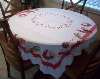 Vintage 57 x 47 Square Rooster & Feather Tablecloth