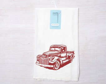 Vintage Truck Flour Sack Tea Towel - Kitchen Towel - Dish Towel - Hand Towel - Screen Printed - Made in USA - Eco Friendly - Gift for Her