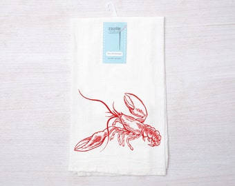 Lobster Flour Sack Towel - Cotton Dish Towel - Tea Towel - Coastal Decor - Dish Towel  - Kitchen Towel - Nautical