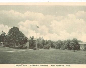 "Massachusetts, Vintage Postcard, ""Campus View, Northfield Seminary, East Northfield, Mass.,""  1930, #1024."