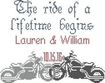 Motorcycle Wedding Sampler/Cross Stitch/Modern Cross Stitch/Cross Stitch Pattern/ Motorcycle Cross Stitch/Wedding Cross Stitch/Digital PDF