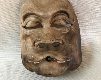 Wooden Asian Theater  Mask Wall Art #2  Wood Hand Carved 3 Dimensional OOAK Folk Art
