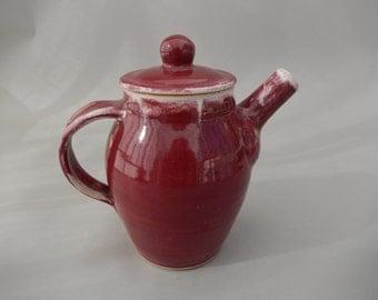 Pottery Teapot - Wheel Thrown Stoneware Ceramic Chrome  Red