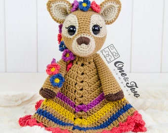 Meadow the Sweet Fawn Lovey / Security Blanket - PDF Crochet Pattern - Instant Download - Blankie Baby Blanket