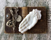 Vintage Shabby Chic Milk Glass Hand Ring Dish