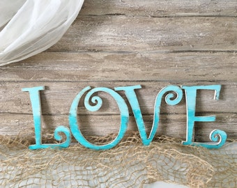 Love Wooden Letters, Hand Painted Wedding Letters Beach Wedding Decor Distressed Letters, Wood Letters, Shabby Chic Letters, Painted Letters