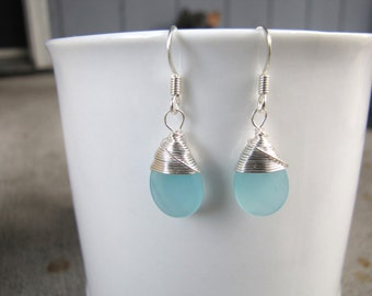 blue chalcedony colored wire wrapped earrings glass faceted teardrop earrings bridesmaid earrings