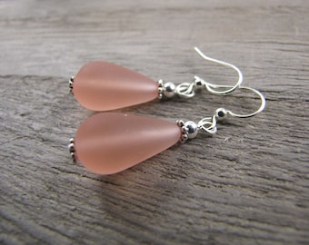 peach earrings frosted glass jewelry bridesmaid wedding