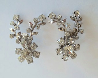 Rhinestone Flower Spray Ear Climber Clip Earrings