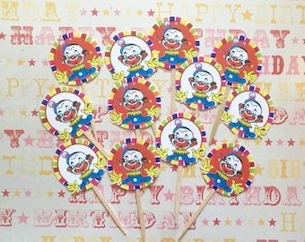 Clown Cupcake Toppers/Circus Clown Toppers/Circus Party/Circus Cupcakes