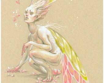 Moon Moth, Art Print, fairy faerie drawing fantasy print