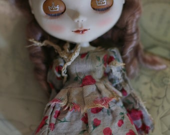 Rose vintage coffee dye dress - for Blythe - doll outfit - by kreamdoll