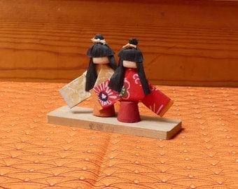 Vintage Japanese Paper Miniture Geisha Dolls on Wooden stand